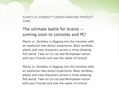 Plants vs. Zombies Garden Warfare Product Description